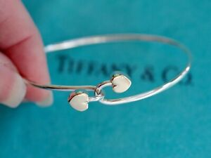 Tiffany & Co Sterling Silver 18ct Gold Double Two 2 Hearts Hook Bracelet Bangle