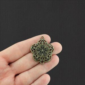 5 Flower Connector Antique Bronze Tone Charms - BC365