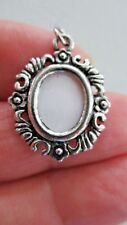 """New 1"""" PHOTO CHARM Silver Tone Metal PERSONALIZE WITH YOUR PHOTOS Dangle Pendant"""