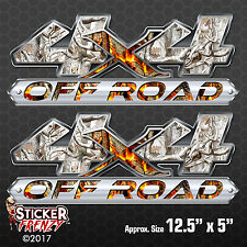 """4x4 """"Camo Snow Fire"""" OFF ROAD 2 Pack Decal #FE420 truck vinyl hunting sticker"""