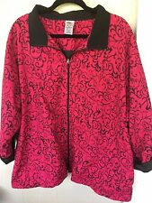 JMS Women's Red Fuchsia & Black Light Weight Jacket Wind Breaker Plus Size 4X