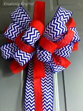 Red White And Blue Patriotic Christmas Ribbon Bow Tree Topper