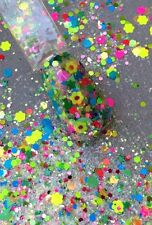 glitter mix acrylic gel nail art   FLOATING FLOWERS