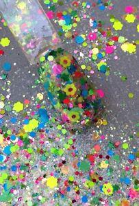 glitter mix acrylic gel nail art   FLOATING FLOWERS