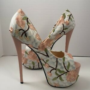 Exotic Dancer Pink Floral Ultra High Peep Toe Stiletto Platforms Sz 50 NIB