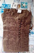 chemisier blouse haut femme marron - taille 38 (neuf avec étiquette)