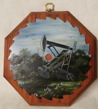 Texas Oil Pumpjack Painted Saw Blade Folk Art Country Farmhouse Decor Signed VTG