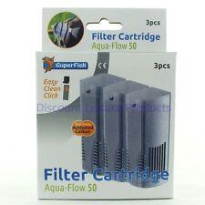 SuperFish Aqua Flow 50 Easy Click Aquarium Filter Cartridge (3Pcs)