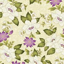Benartex Ribbon Floral by Dover Hill Purple Plum Cream Green Fabric 741M-07