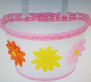 MEDIUM SIZE BICYCLE BASKET WITH FLOWERS,PINK/WHITE,10X6.25X6.25