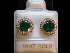 Green Onyx - Ohrstecker - 6 mm - Milgrain Fassung - 10 Kt. Gold - 417 - Ohrringe