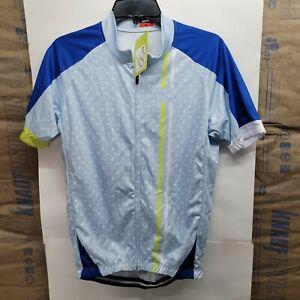 Cycling Shirt Full Zip Blue 3 Back Pockets Pouches Size Large bike short sleeve