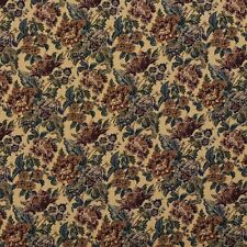 F672 Beige Green Burgundy Vintage Floral Tapestry Upholstery Fabric By The Yard