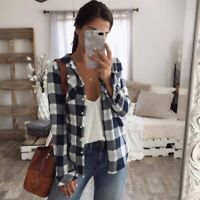 Women Flannel Plaid Shirt Material Relaxed Button-front Collar Neck Top S-2XL