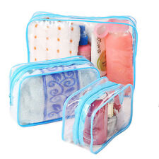 PVC Clear Plastic Pouch Travel Bathing Toiletry Zipper Cosmetic Bag 3 Sizes EecA