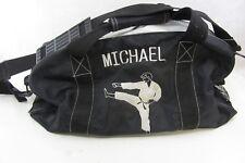 "Personalized Karate Michael Duffel Gym Bag, black & white, 9"" x 18"" & 10"" tall"