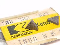 NEW SURPLUS 10PCS.  KENNAMETAL  TNU 322  GRADE: K21  CARBIDE INSERTS