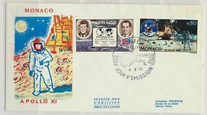 Monaco Sc. 772 - 773 Man's First Landing on Moon Apollo 11 on 1970 FDC