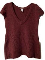 Soft Surroundings Merlot Short Sleeve Sweater Tunic Size M