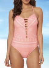 Bleu Rod Beattie Sneak Peek Plunge Crochet Halter Mio 8 One Piece Coral Reef