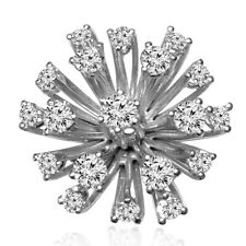 14k Solid White Gold Diamond Flower Ring