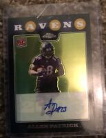 Allen Patrick Baltimore Ravens Rookie Topps Chrome RC Refrator Auto Card