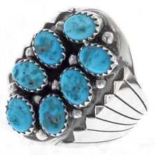 Turquoise Cluster Mens Ring Navajo Big Boy Size 9 to 13( 13.5 to 15 add'l cost)