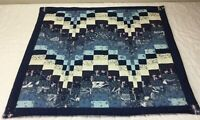 Patchwork Quilt Table Topper, Rectangles, Various Sizes, Calico Prints, Blue