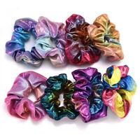 Fashion Colorful Elastic Bronzing Hair Rope Glitter Ponytail Holder Hair Ring
