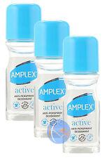 3x AMPLEX Active Antitranspirante Desodorante Roll On 50ml