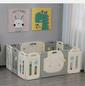 @ 12 PCs Foldable Children Playpen Safety Gate Kids Activity Center Fence 9:21