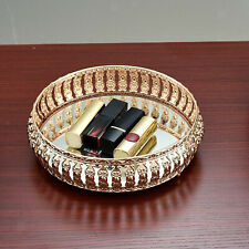Glass Crystal Gem Diamond Round Mirror Glass Gold Candle Plate Decorative Tray