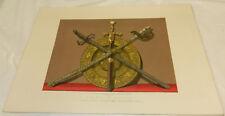 1863 Antique COLOR Print/PRESENTATION SWORDS & SALVER/Belgian Exposition/ORNATE