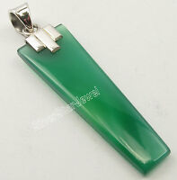 ".925 Sterling Silver HUGE FLAT GREEN ONYX STONE New Pendant 1.9"" JEWELRY STORE"