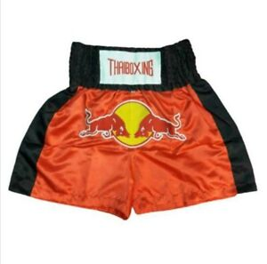 Red Bull Athletes Gear Muay Thai Fight Boxing Two Tone Shorts Satin Fabric M-3XL