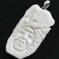 """2 3/8"""" HAND CARVING MAMMOTH INDIAN BISON BONE 925 STERLING SILVER pendant"""