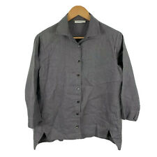 Primness Linen Blouse Top Womens Size 1 AU 10-12 Grey Long Sleeve Button Front