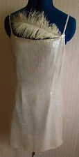 gorgeous white sequined strappy cocktail dress.size 12