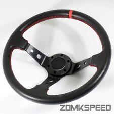 350mm Deep Dish Drifting Racing Black PVC Leather/Red Stitching Steering Wheel