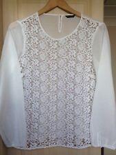 Massimo Dutti Long Sleeve White Embroided Front Blouse, Size EU42/UK14/US10