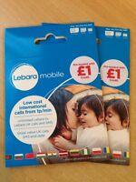 UK Twin Lebara Triple SIM CARD with £1 credit - FREE EU ROAMING