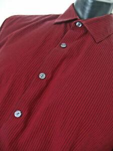 REACTION Kenneth Cole Men's Ren Black pinstripes Shirt Sz 16 1/2 34/35 Slim Fit.