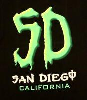 SD San Diego California T-shirt S Small Black 100% Cotton Active Sport Travel
