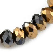 70+ Black/Copper Czech Crystal Glass 6 x 8mm Faceted Rondelle Beads HA21050
