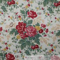 BonEful Fabric FQ Cotton Quilt VTG Cream Pink Red Rose Flower Garden Cottage Old