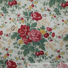 BonEful Fabric Cotton Quilt Cream Red Rose Flower Garden Country Cottage L SCRAP