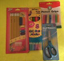 School Supplies Pencils, Erasers, Pencil Grips and Grippers, Scissors - New