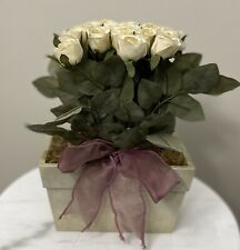 "21 White Artificial Roses Floral Decor in Box ~ Top Design  7"" x 4"" x 10"" Tall"