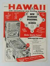 Original United's Hawaii Bingo Arcade Pinball Machine Advertising Flyer