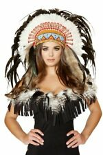 Native American Headdress - H4471-As-O/S - Brown/White/Turquoise